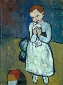Pablo Picasso, Kind mit Taube, Öl auf Leinwand 1901, Privatbesitz, National Gallery London